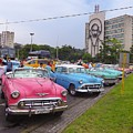 Classic Cars In Revolutionary Square Cuba by Marge Sudol