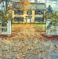 Classic Colonial Home In Autumn Pencil by Edward Fielding