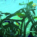 Classic Flathead Motorcycle Green Po by David King