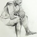 Classic Life Drawing Of A Sitting Man Sleeping by Greta Corens