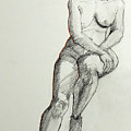 Classic Life Drawing Of A Young Female Nude Sitting On A Stool by Greta Corens