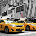 Classic Street View Of Yellow Cabs In New York City by Antonio Gravante