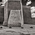 Classic View Of Ranchos Church In B-w by Charles Muhle