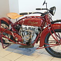Classic Vintage Indian Motorcycle Red   # by Rob Luzier