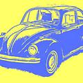 Classic Vw Beetle Tee Blue Ink by Edward Fielding