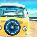 Classic Vw Camper On The Beach by Edward Fielding