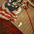 Classic Wooden Boat Stern With Flag by Michelle Calkins