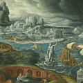 Classical Landscape With Ships Running Before A Storm Towards A Classical Harbour Probably Corinth by Circle of Maerten van Heemskerck