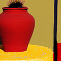 Clay Pot In Red by Linda  Parker