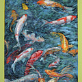 Clear Creek Koi With Painted On Mat by Charles Munn