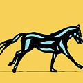Clementine - Pop Art Horse - Black, Island Paradise Blue, Primrose Yellow by Manuel Sueess
