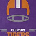 Clemson Tigers Vintage Football Art by Joe Hamilton