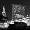Cleveland Black And White Panoramic by Frozen in Time Fine Art Photography