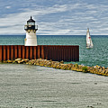 Cleveland Harbor Small Lighthouse by Marcia Colelli
