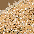 Cleveland Map Sepia by Bekim Art