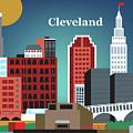 Cleveland Ohio Horizontal Skyline by Karen Young