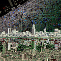 Cleveland Skyline Abstract 4 by Bekim Art