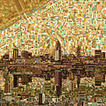 Cleveland Skyline Abstract 6 by Bekim Art