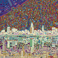 Cleveland Skyline Abstract 8 by Bekim Art