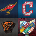 Cleveland Sports Fan Recycled Vintage Ohio License Plate Art Cavaliers Indians Browns And State Map by Design Turnpike