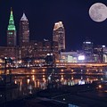 Cleveland With Full Moon by Frozen in Time Fine Art Photography
