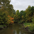 Clinton River In Autumn Cloudy Day by Catalina Diaz