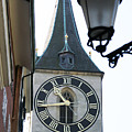 Clock Tower In Frankfurt In Germany by Carl Purcell