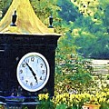Clock Tower In The Garden by Donna Bentley