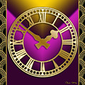 Clock With Border - Purple by Chuck Staley