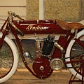 close up of red Indian motorcycle   # by Rob Luzier