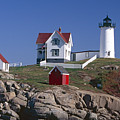 Close Up View Of A Lighthouse Cape Neddick Maine by George Oze