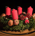 Closeup Of An Advent Wreath, Unlit Candles by Stefan Rotter