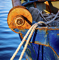 Closeup Of Blue Rusting Fishing Boat In Rhodes, Greece by Global Light Photography - Nicole Leffer