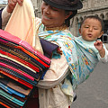 Cloth Vendor In Quito by Alan Lenk