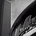 Cloud Gate And Aon Center Black And White by Roger Passman