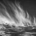 Clouds - Flame Shape - Black And White by Krzysztof Dac