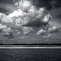 Clouds Over Masonboro Island In Black And White by Greg Mimbs