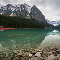 Cloudy Fall Day At Lake Louise by James Udall