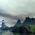 Cloudy Ocean Scene by John Junek