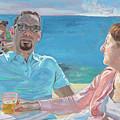 Clovis And Bethany At Tobacco Bay, Bermuda by Regina Gately