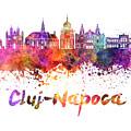 Cluj-napoca Skyline In Watercolor Splatter by Pablo Romero