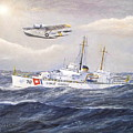 Coast Guard Cutter Pontchartrain And Coast Guard Aircraft  by William H RaVell III