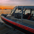 Coast Guard Response Boat At Sunset by Marty Saccone