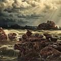 Coastal Landscape With Ships On The Horizon by Mark Carlson