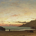 Coastal Scene With A Man And A Dog by Frederick William Meyer