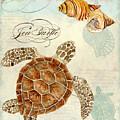 Coastal Waterways - Green Sea Turtle Rectangle 2 by Audrey Jeanne Roberts