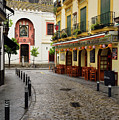 Cobblestone Argote De Molina Street With Cafe Ending At The Nort by Reimar Gaertner