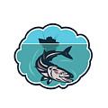 Cobia Fish Fishing Boat Bubble Retro by Aloysius Patrimonio