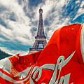Coca-cola Can Trash Oh Yeah - And The Eiffel Tower by Tony Rubino