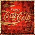 Coca Cola Square Aged Texture Black Border by John Stephens